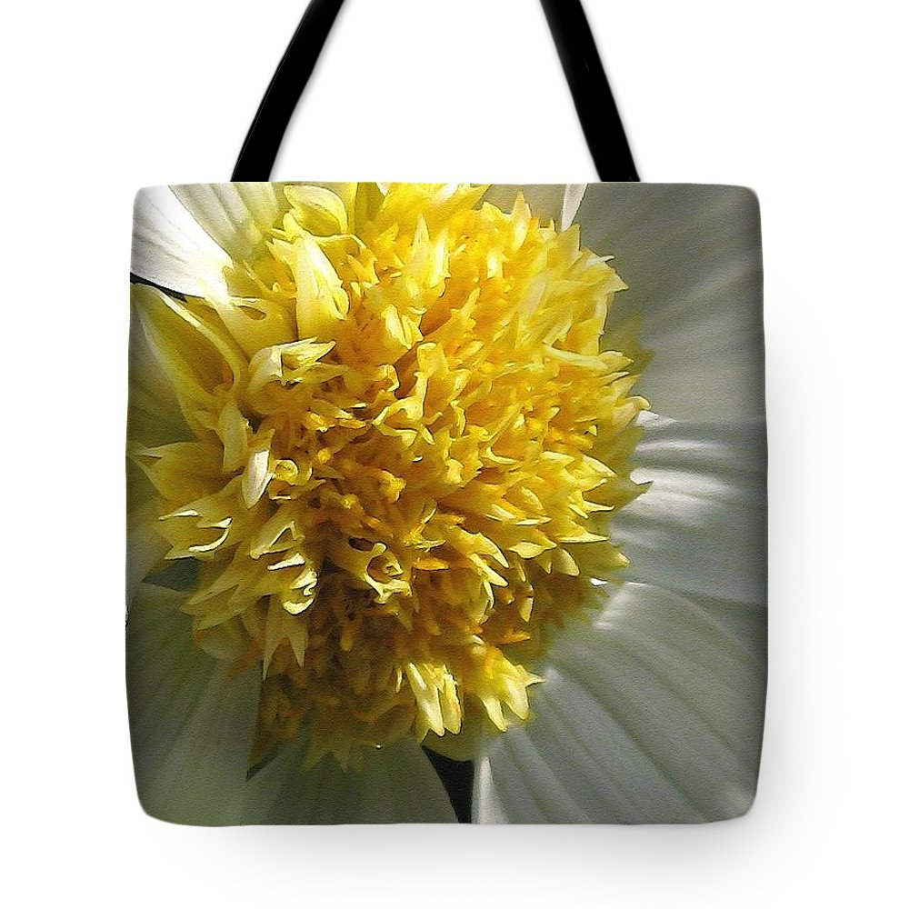 Mccombie Tote Bag featuring the painting Dahlia Named Platinum Blonde by J McCombie