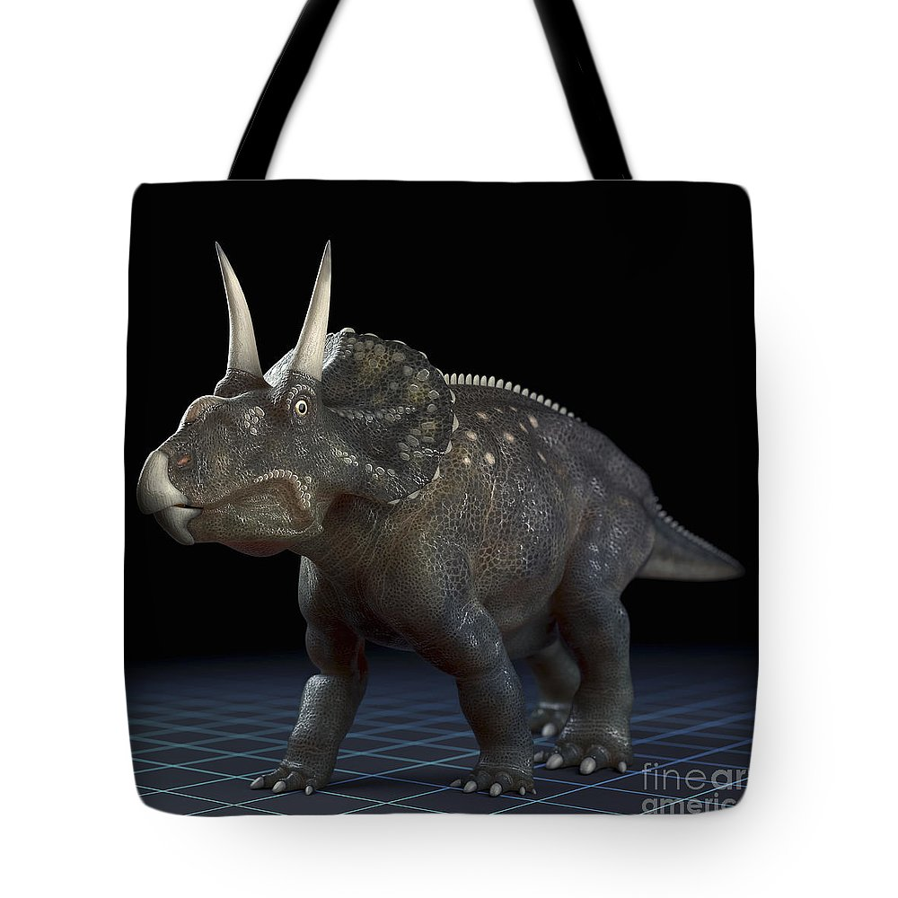 Extinction Tote Bag featuring the photograph Dinosaur Diceratops by Science Picture Co