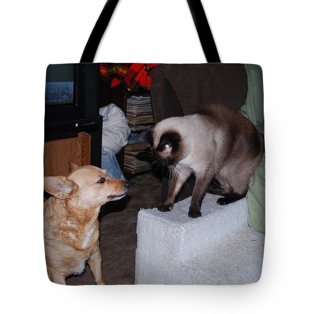 Don't Touch� Me Tote Bag featuring the photograph Foxy And Ninja by Robert Floyd