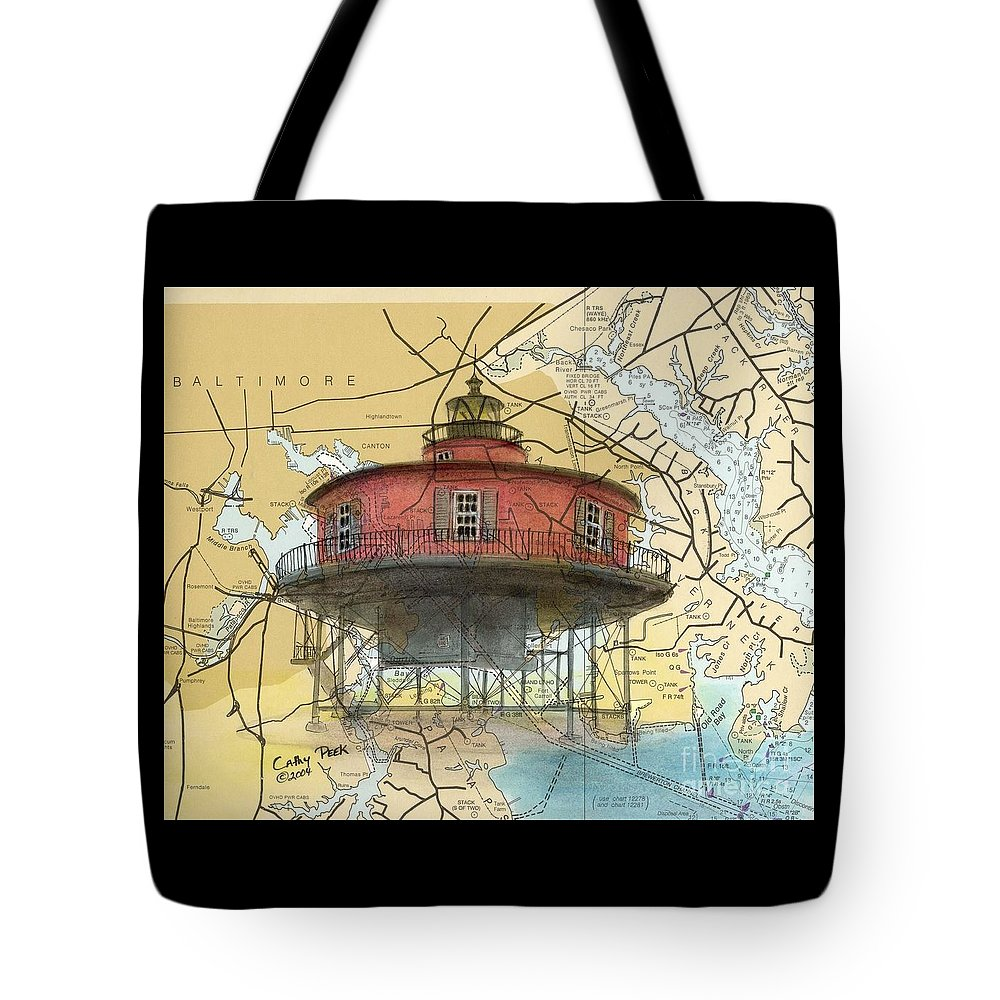 Seven Tote Bag featuring the painting 7 Ft Knoll Lighthouse Md Nautical Chart Map Art Cathy Peek by Cathy Peek