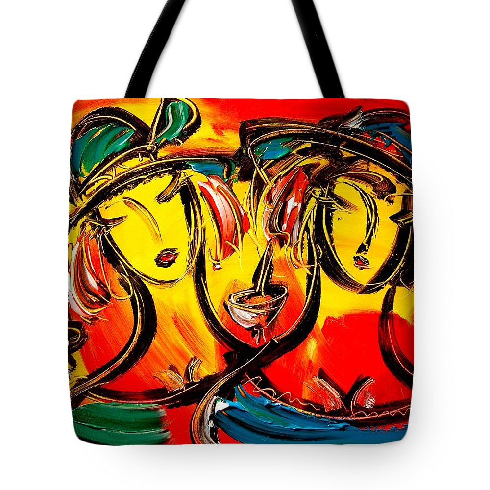 Tote Bag featuring the painting Girls by Mark Kazav