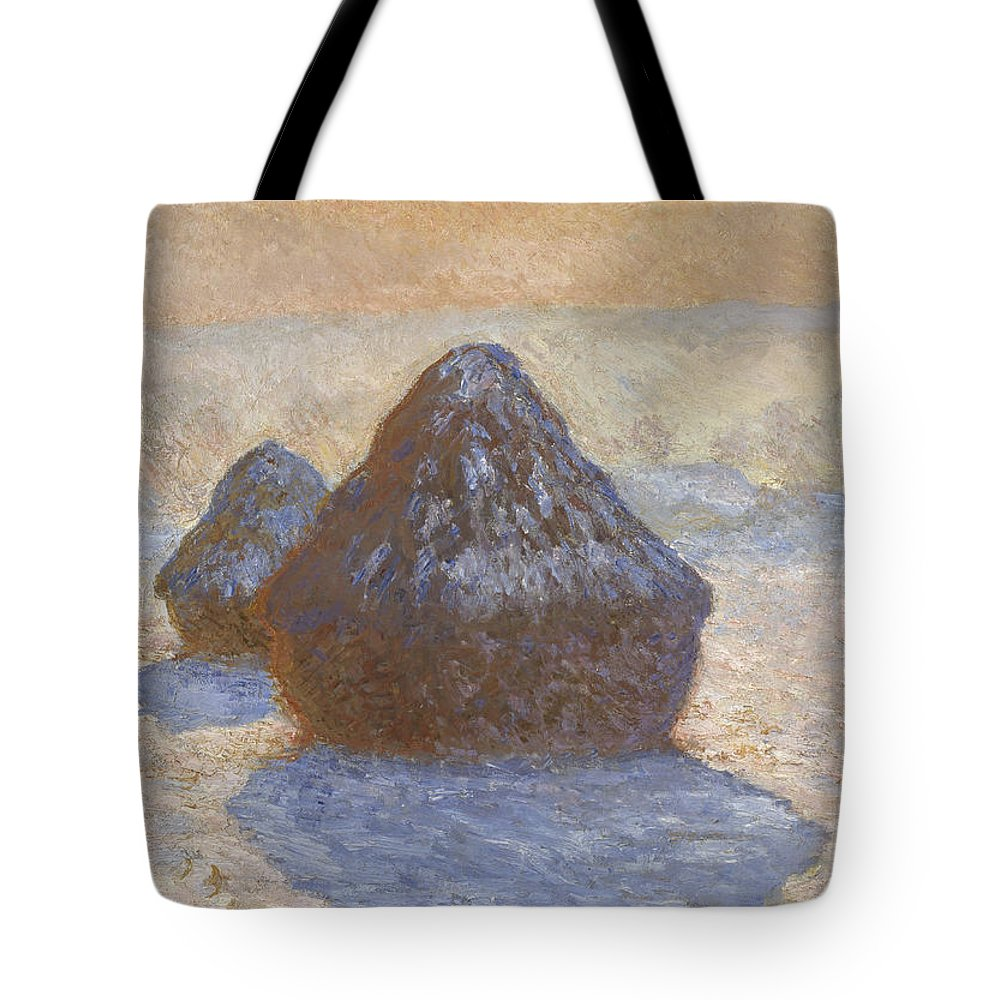 Claude Monet Tote Bag featuring the painting Haystacks by Claude Monet