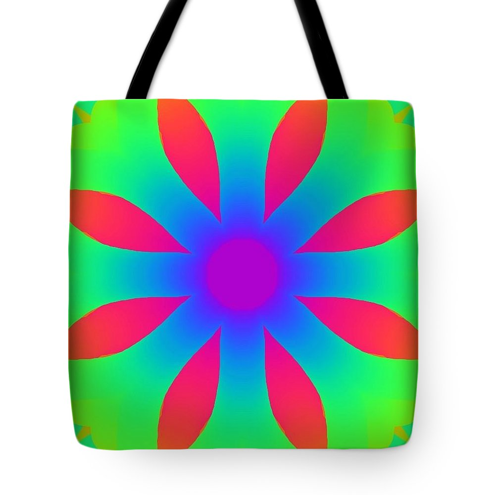 Rainbow Tote Bag featuring the drawing Kaleidoscope Drawing by Bruce Nutting
