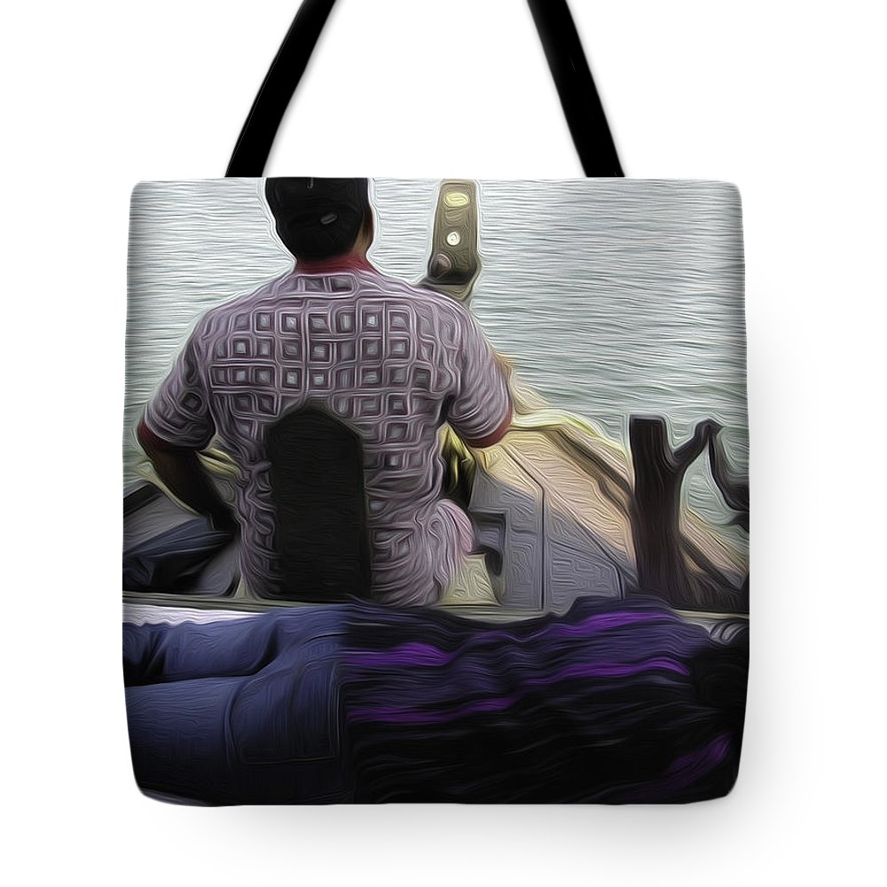 Boat Tote Bag featuring the digital art Lady Sleeping While Boatman Steers by Ashish Agarwal