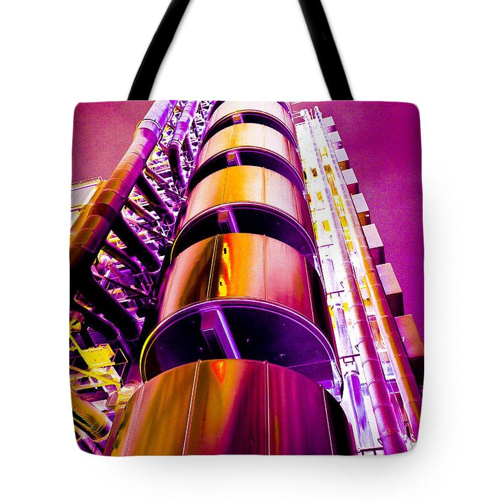 Lloyd's Tote Bag featuring the digital art Lloyd's Building London Art by David Pyatt