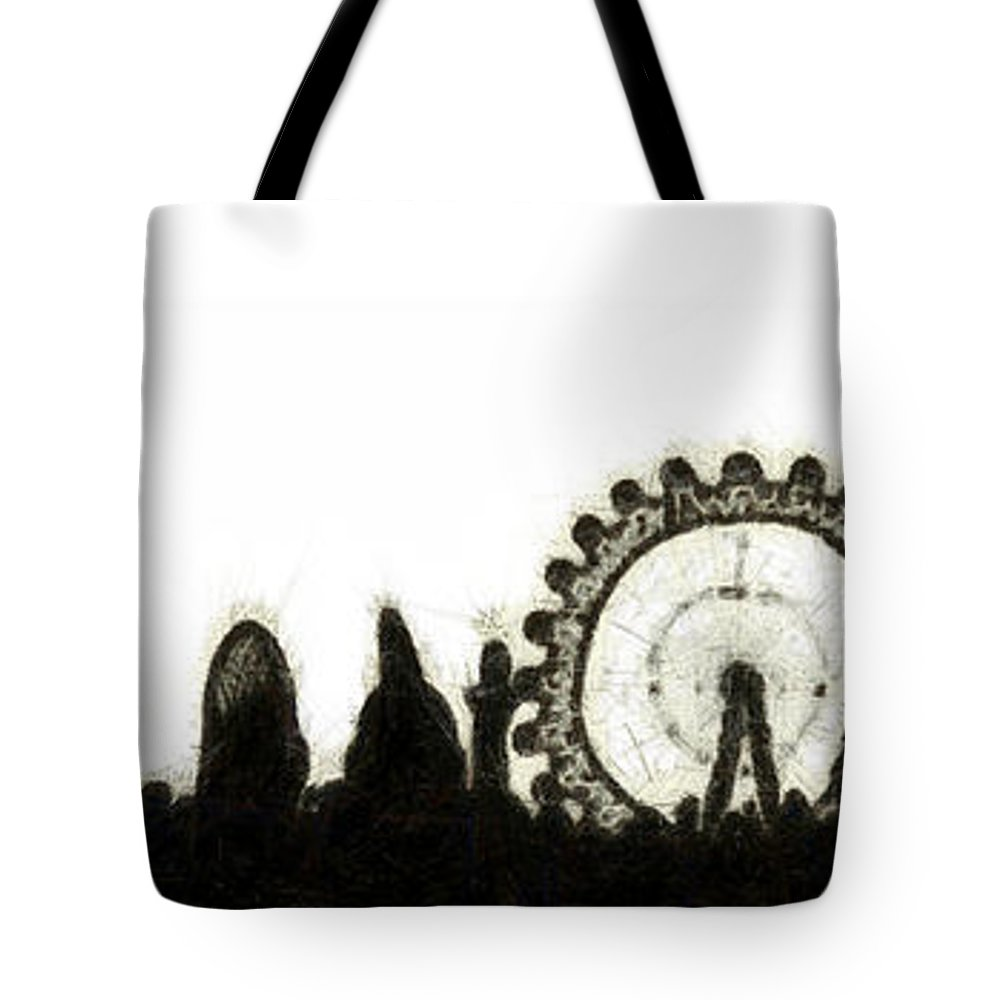 Architecture Tote Bag featuring the digital art London Skyline by Michal Boubin