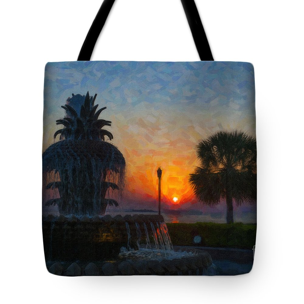 Pineapple Fountain At Waterfront Park In Downtown Charleston Sc Tote Bag featuring the digital art Pineapple Fountain At Dawn by Dale Powell