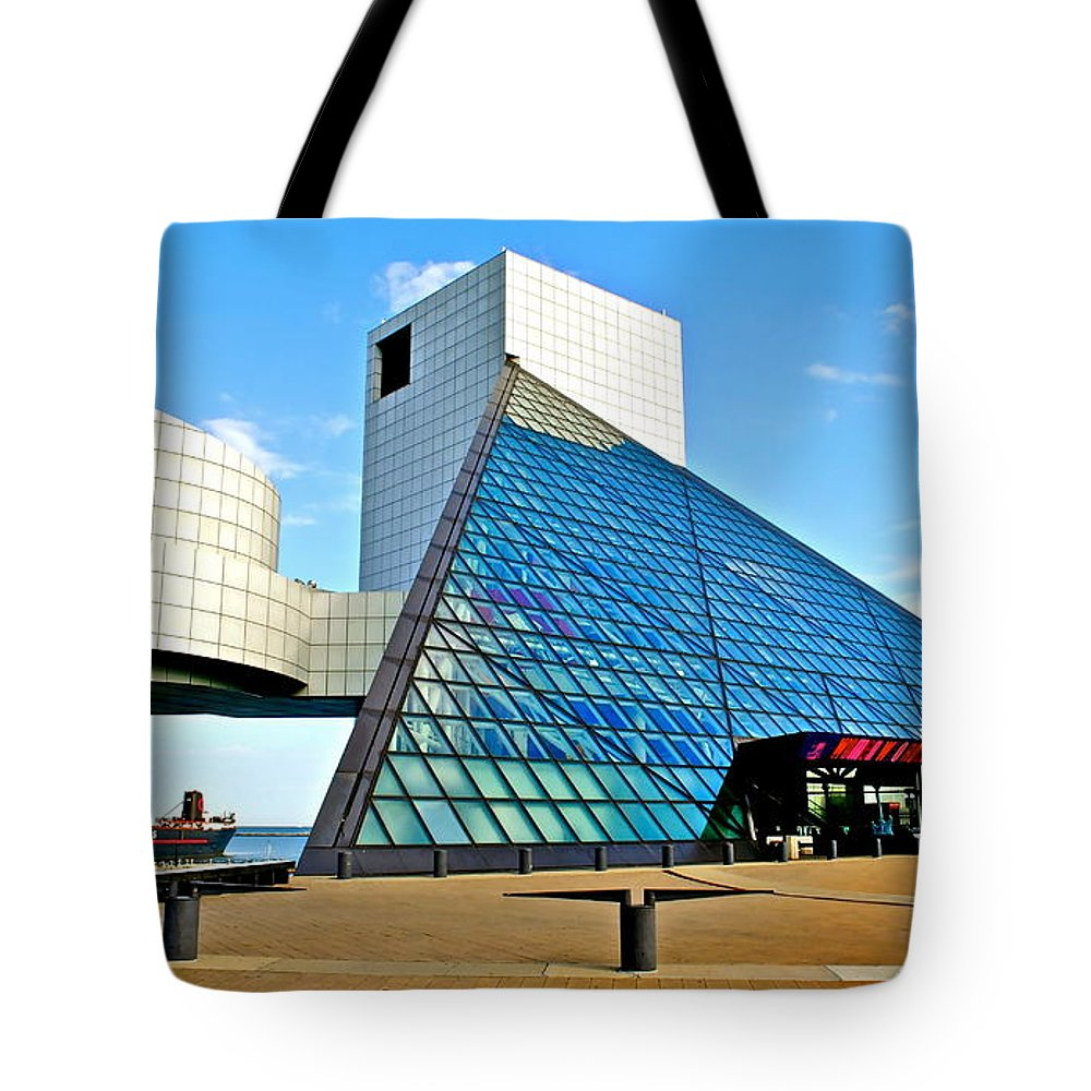 Rock Tote Bag featuring the photograph Rock and Roll Hall of Fame by Frozen in Time Fine Art Photography