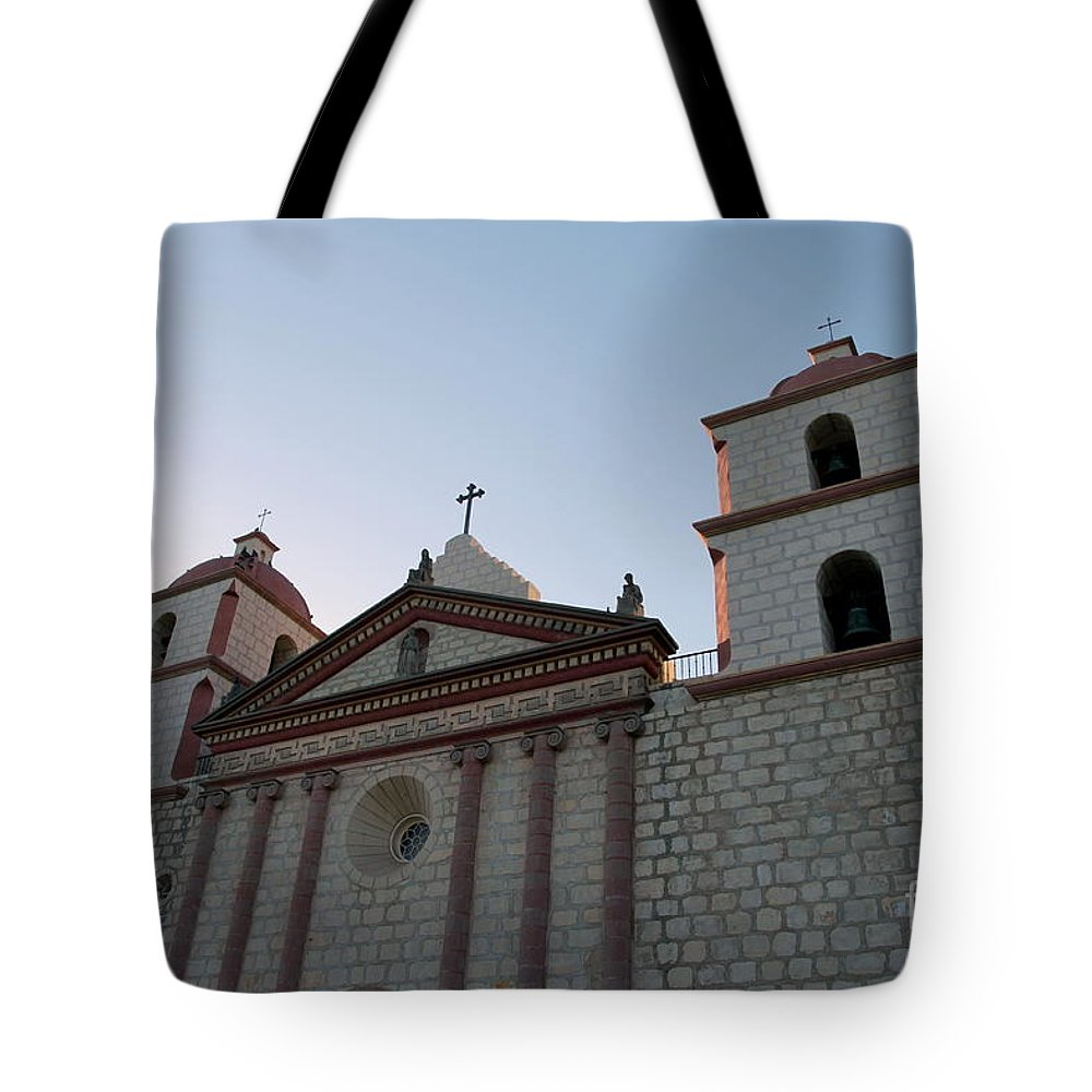 Mission Tote Bag featuring the photograph Santa Barbara Mission by Henrik Lehnerer