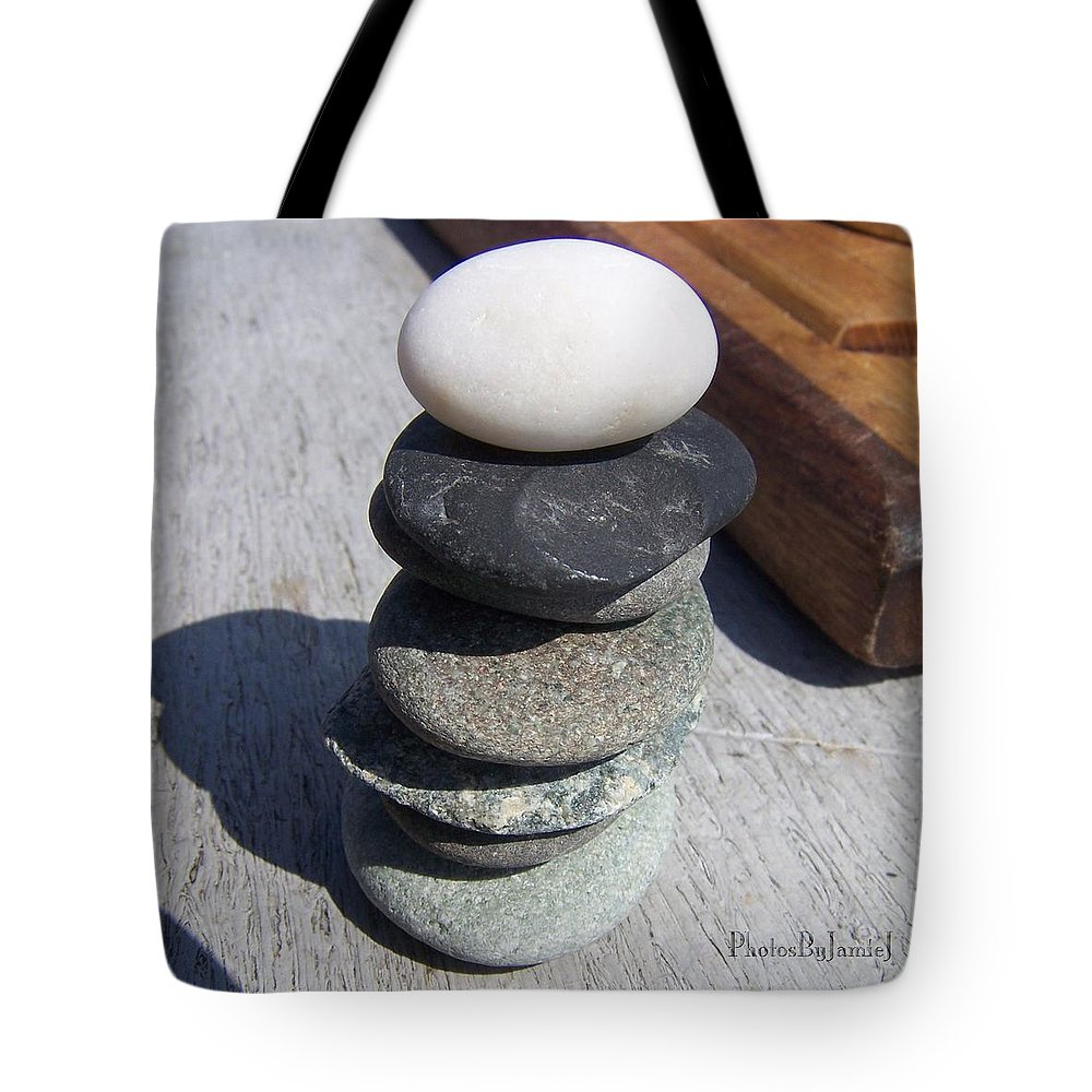 Zen Tote Bag featuring the photograph 7 Stone Cairn by Jamie Johnson