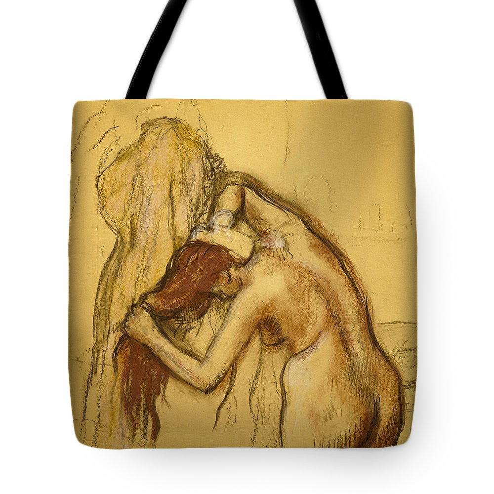 Edgar Degas Tote Bag featuring the painting Woman Drying Herself by Edgar Degas