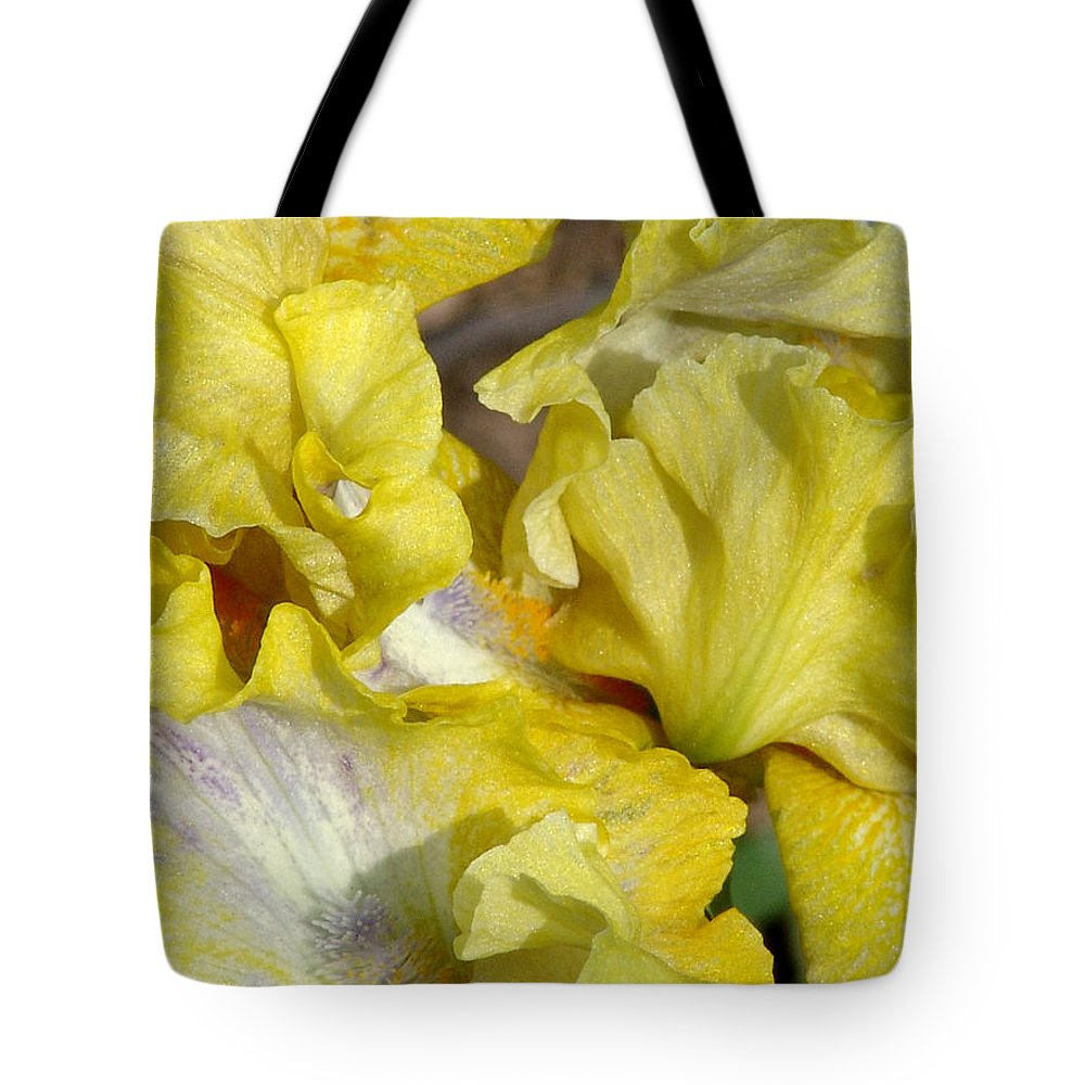 Yellow Tote Bag featuring the photograph Yellow Iris by David Hohmann