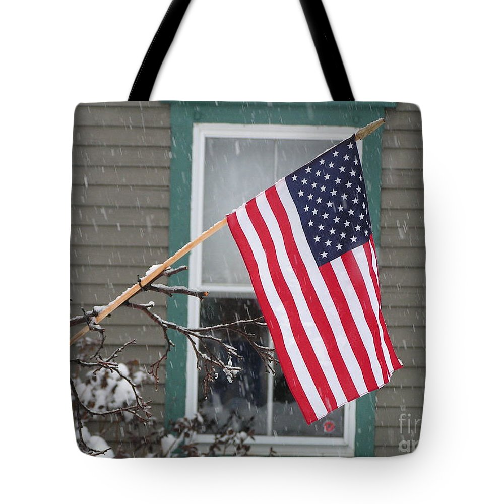 #762 D68 American Flag Winter Tote Bag featuring the photograph #762 D68 American Flag Winter by Robin Lee Mccarthy Photography