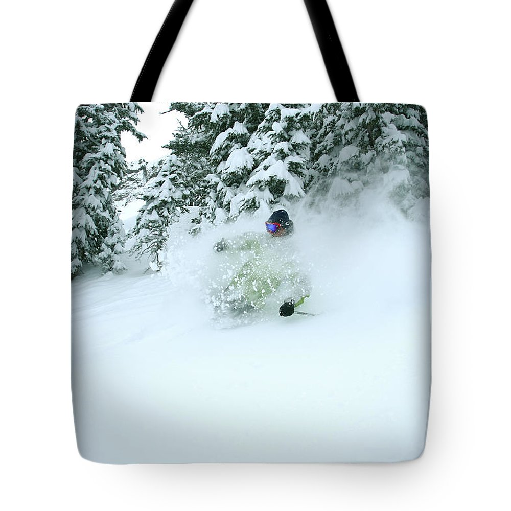 Action Tote Bag featuring the photograph A Man Skiing In Powder Near South Lake by Corey Rich