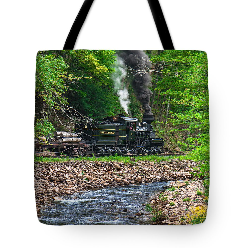 Shay Engine Tote Bag featuring the photograph Cass Scenic Railroad by Mary Almond
