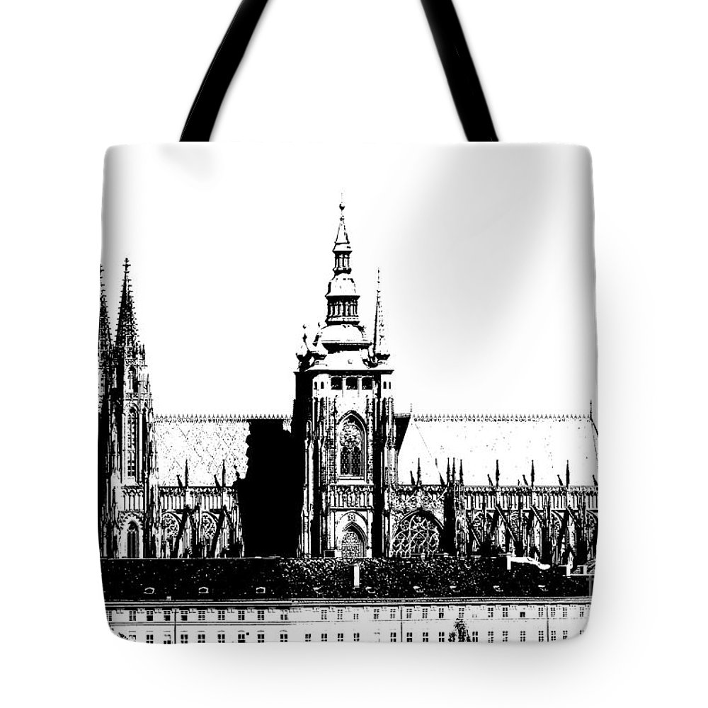 Hradcany Tote Bag featuring the digital art Cathedral Of St Vitus by Michal Boubin