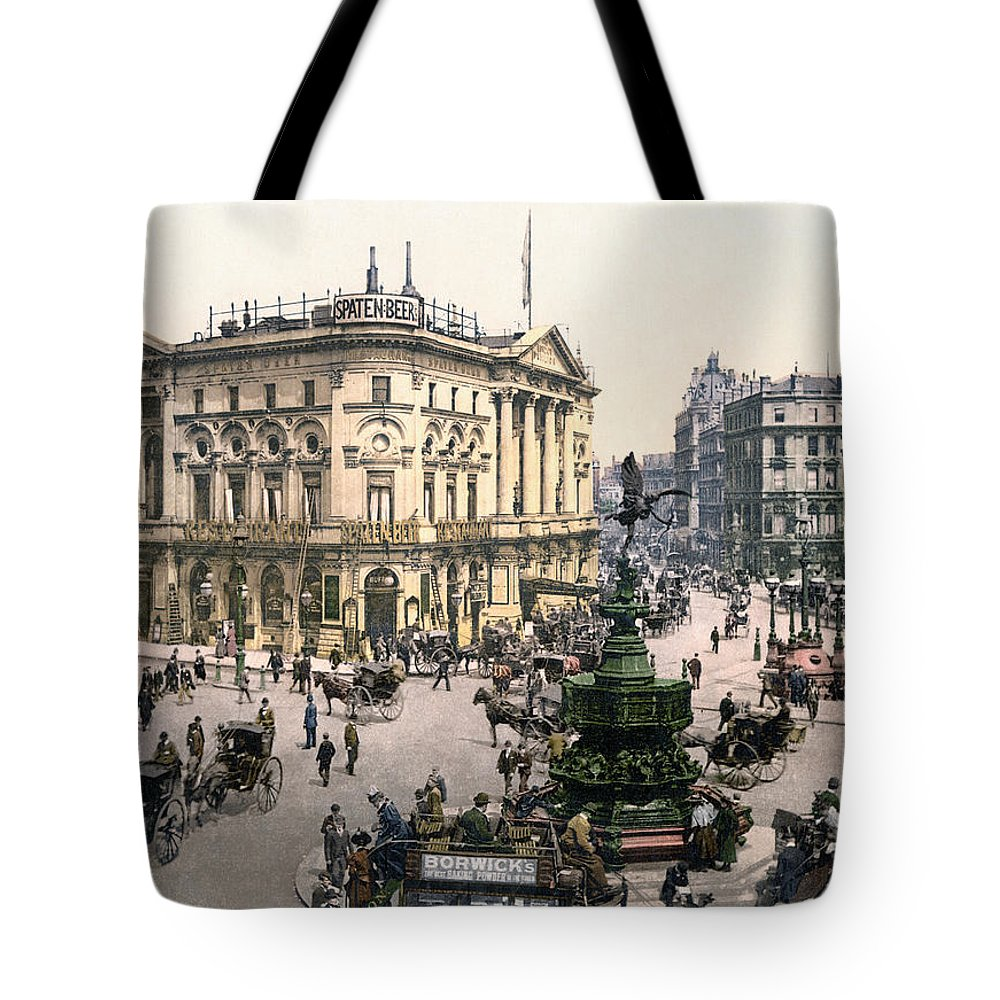 1890 Tote Bag featuring the painting London Piccadilly Circus by Granger