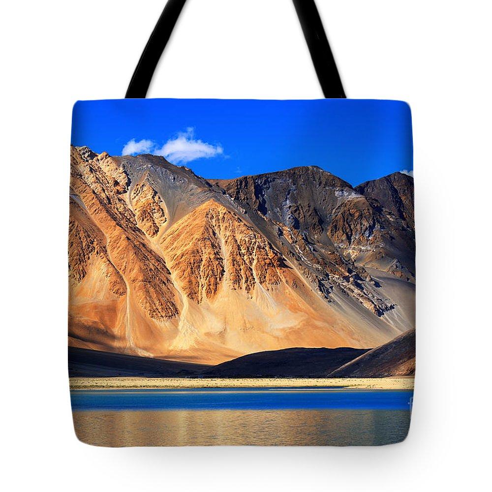 Lake Tote Bag featuring the photograph Mountains Pangong Tso Lake Leh Ladakh Jammu And Kashmir India by Rudra Narayan Mitra