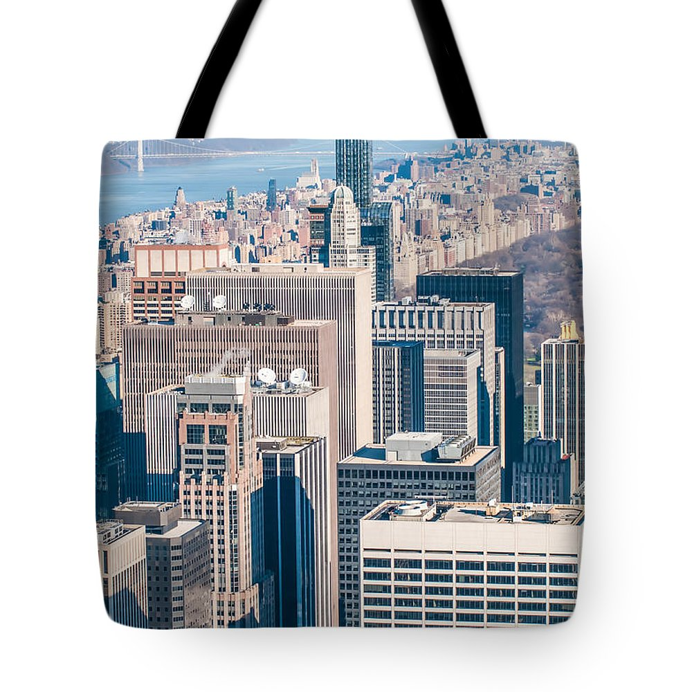 New Tote Bag featuring the photograph New York City Manhattan Midtown Aerial Panorama View With Skyscr by Alex Grichenko