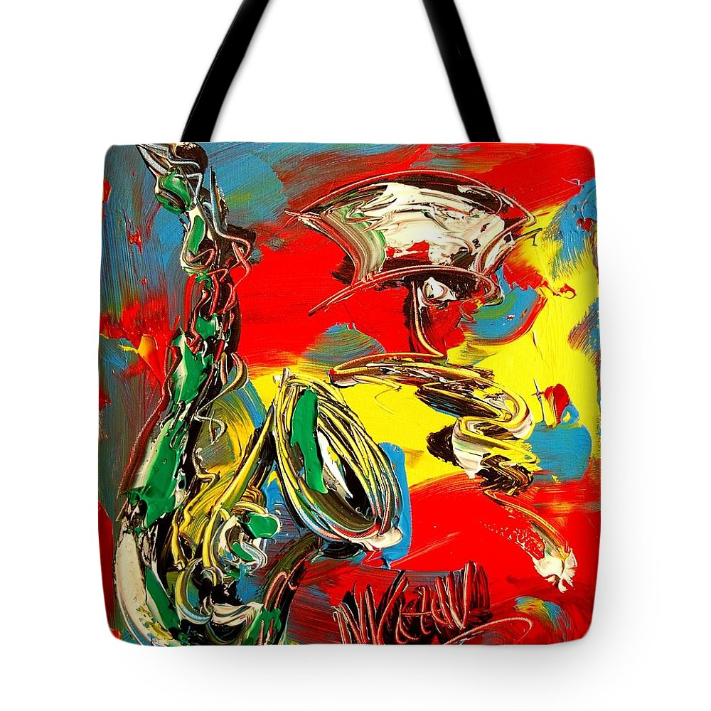 Tote Bag featuring the painting SAX by Mark Kazav