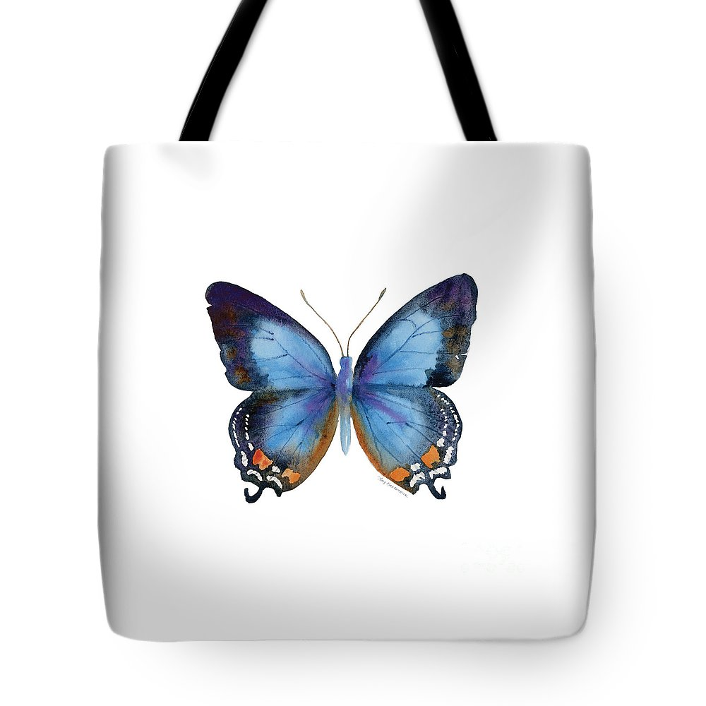 Imperial Blue Butterfly Tote Bag featuring the painting 80 Imperial Blue Butterfly by Amy Kirkpatrick