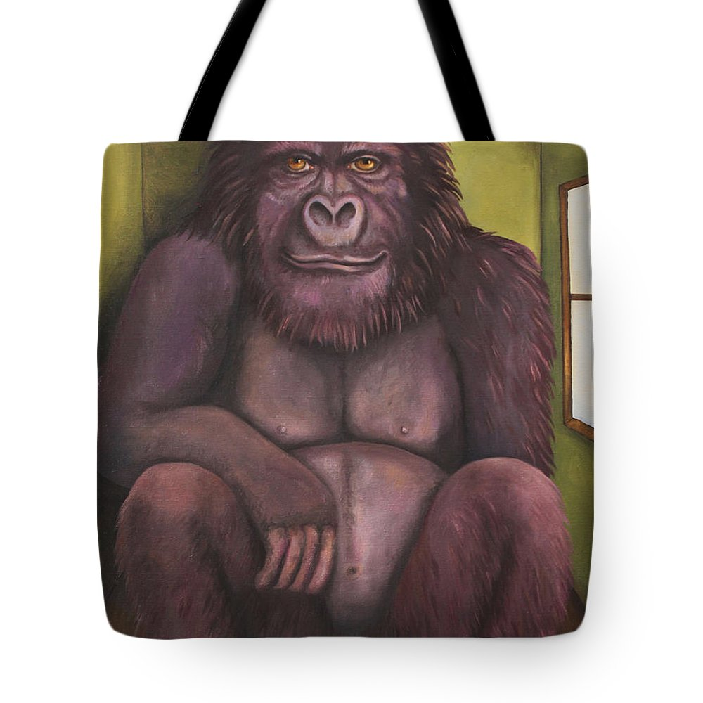Gorilla Tote Bag featuring the painting 800 Pound Gorilla In The Room Edit 4 by Leah Saulnier The Painting Maniac
