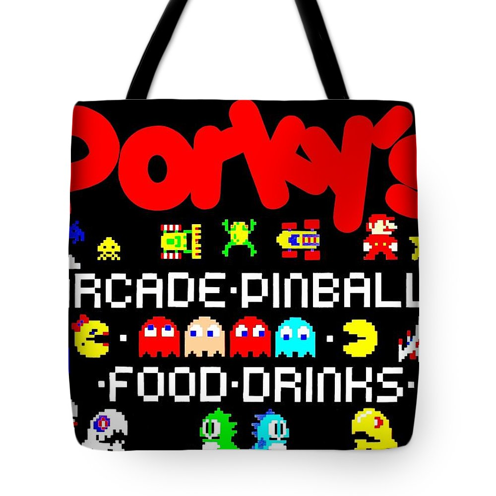 Arcade Tote Bag featuring the digital art 80s Replay by Benjamin Yeager