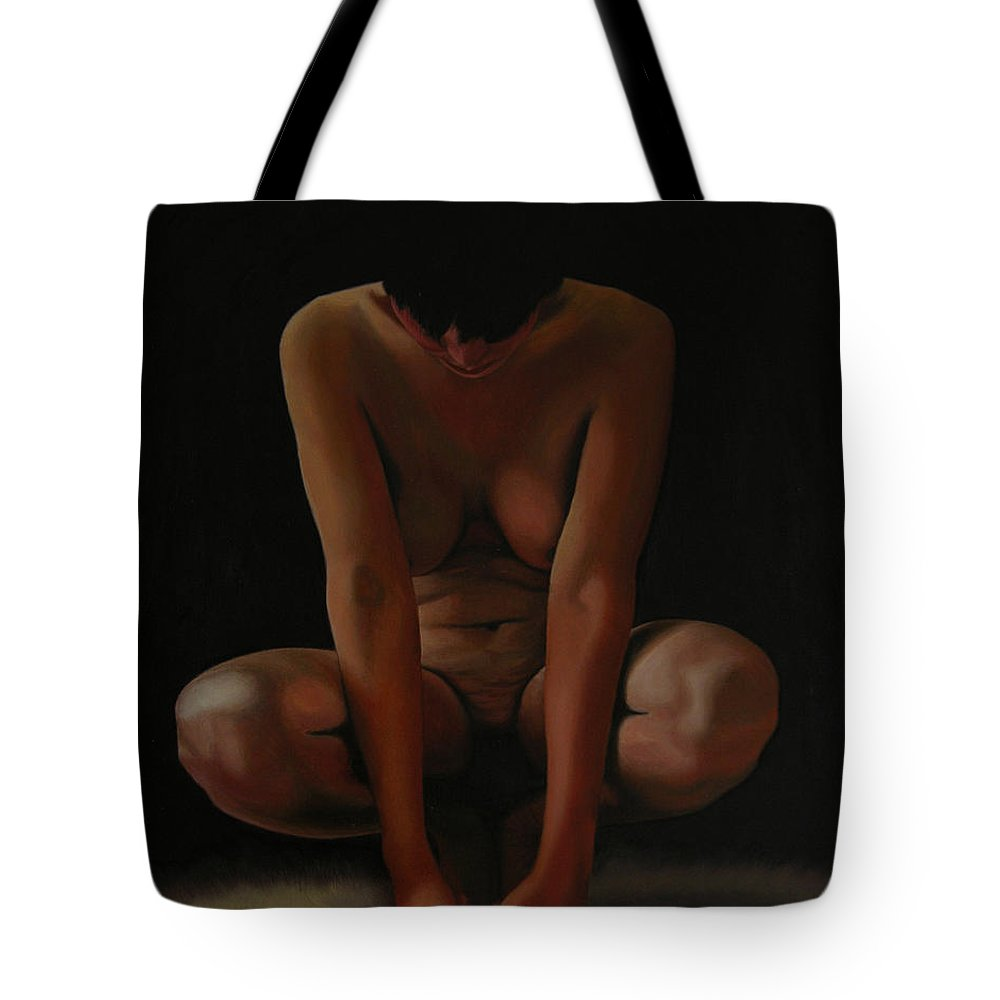 Nude Tote Bag featuring the painting 9 Am by Thu Nguyen