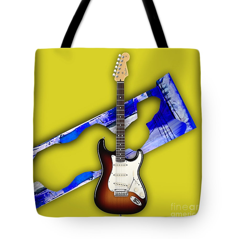 Fender Stratocaster Tote Bag featuring the mixed media Fender Stratocaster Collection by Marvin Blaine