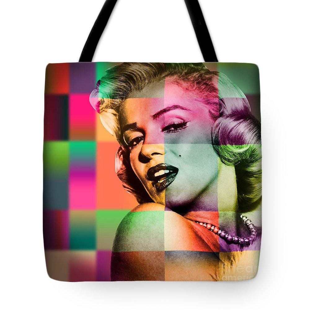 Pop Art Tote Bag featuring the digital art Marilyn Monroe by Mark Ashkenazi