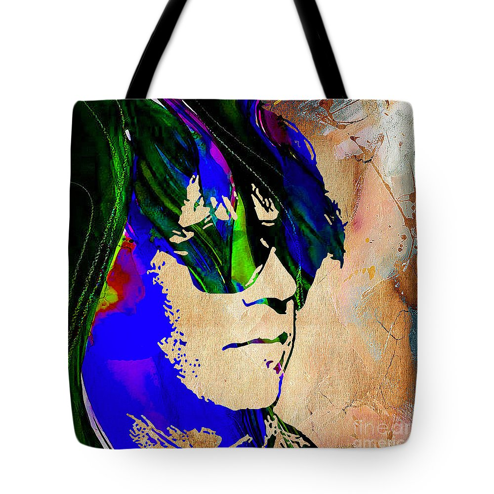 Neil Young Tote Bag featuring the mixed media Neil Young Collection by Marvin Blaine