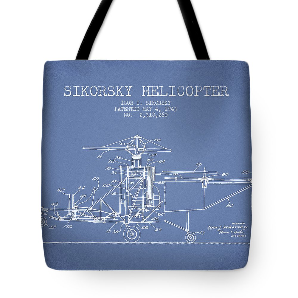 Helicopter Tote Bag featuring the digital art Sikorsky Helicopter Patent Drawing From 1943 by Aged Pixel