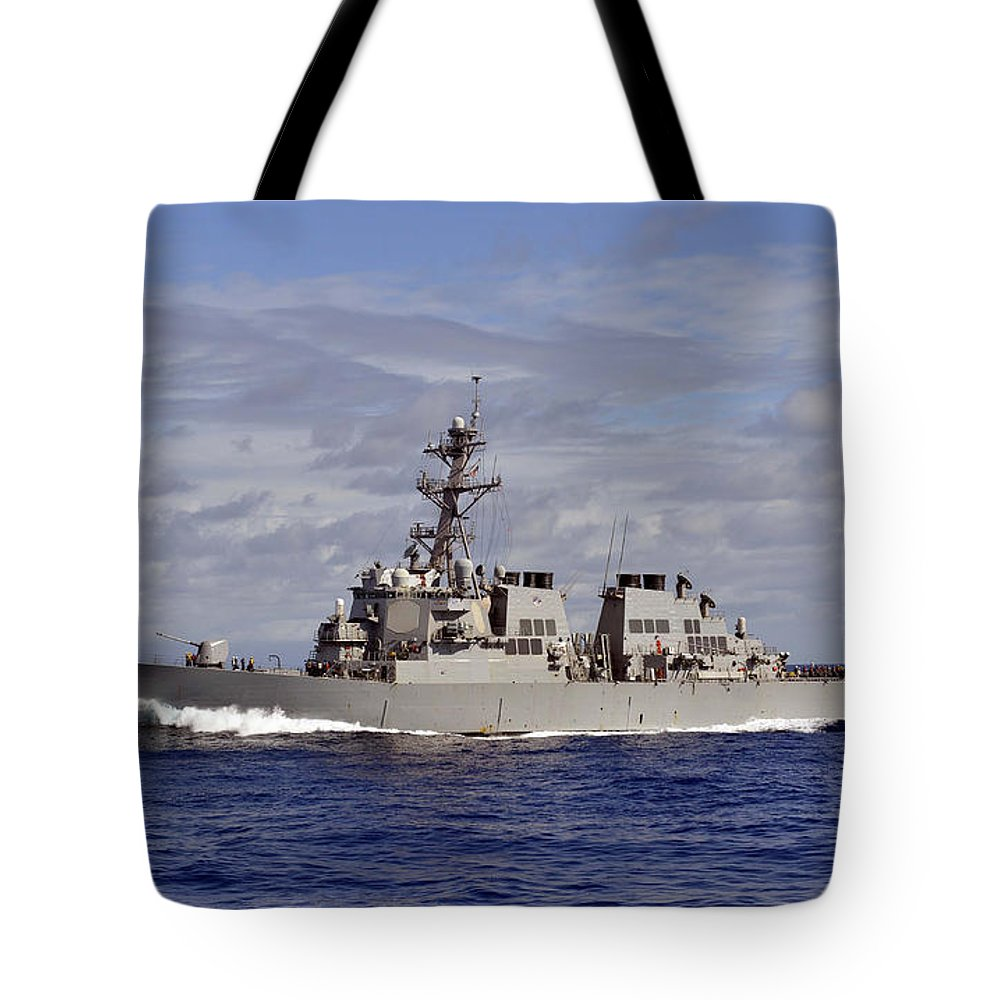Military Tote Bag featuring the photograph The Guided-missile Destroyer Uss by Stocktrek Images