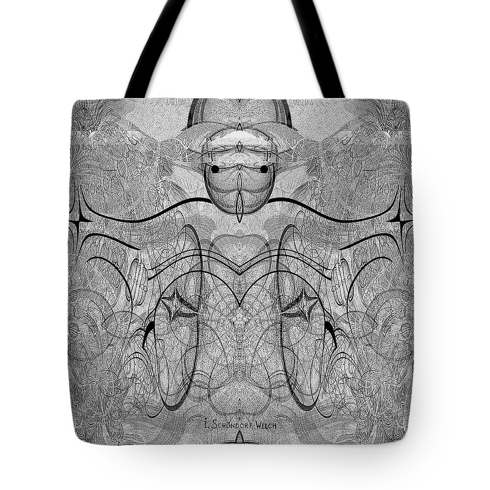 889 Tote Bag featuring the digital art 989 - Giant Creature Fractal ... by Irmgard Schoendorf Welch