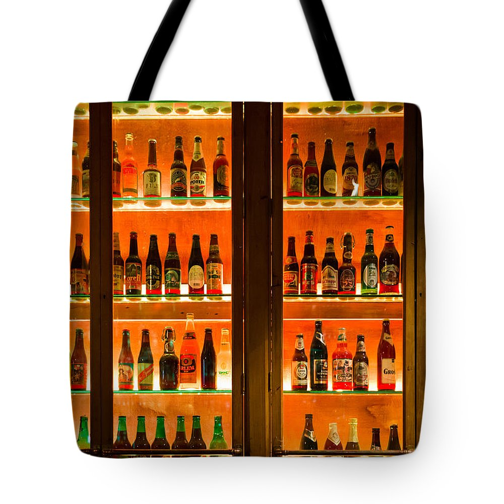 Amber Tote Bag Featuring The Photograph 99 Bottles Of Beer On Wall By Semmick Photo
