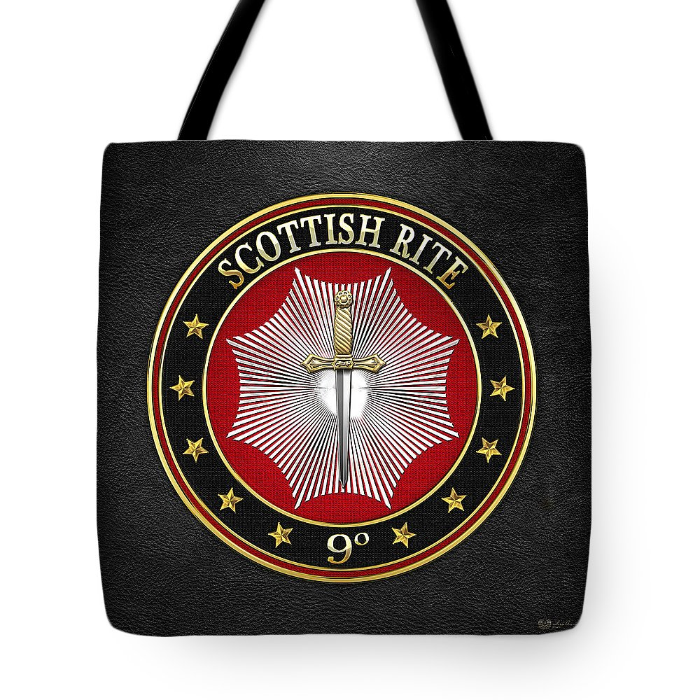 'scottish Rite' Collection By Serge Averbukh Tote Bag featuring the digital art 9th Degree - Elu Of The Nine Jewel On Black Leather by Serge Averbukh
