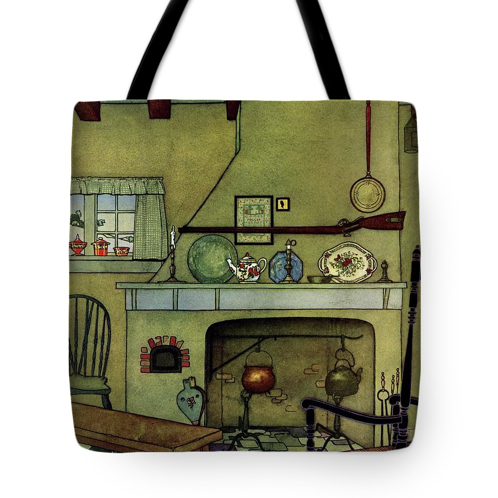 House And Garden Tote Bag featuring the photograph A 1920's Idea Of A Colonial Kitchen by Harry Richardson