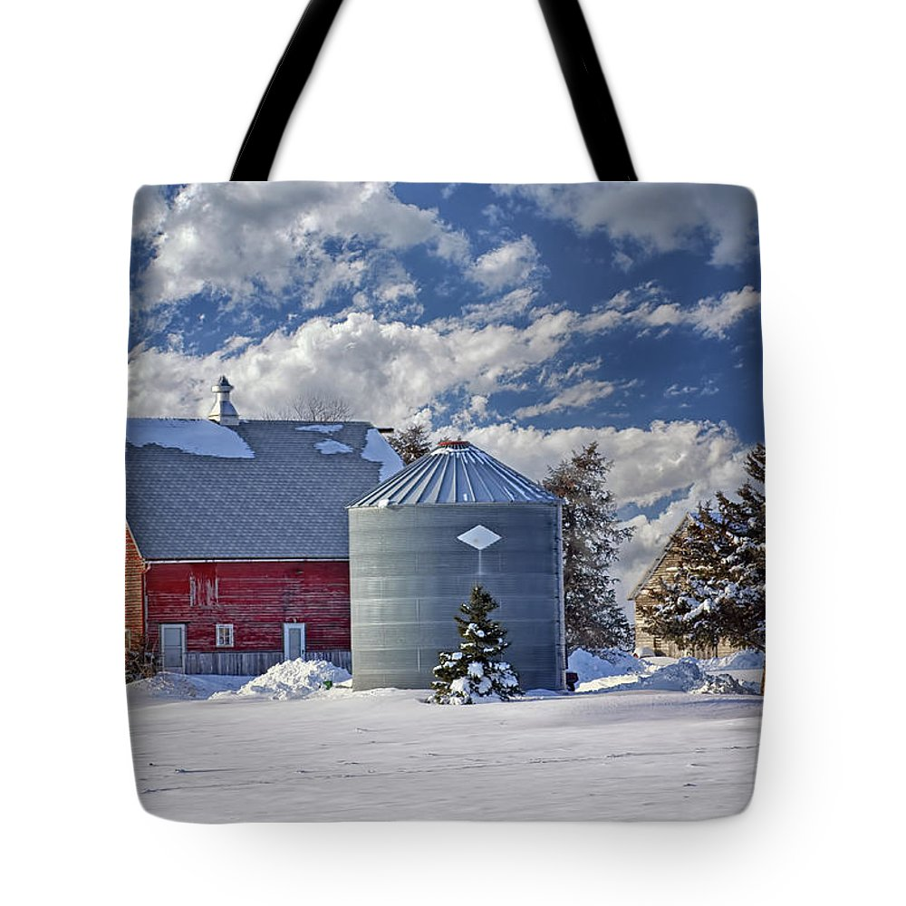 Red Barns Tote Bag featuring the photograph A Beautiful Winter Day by Nikolyn McDonald