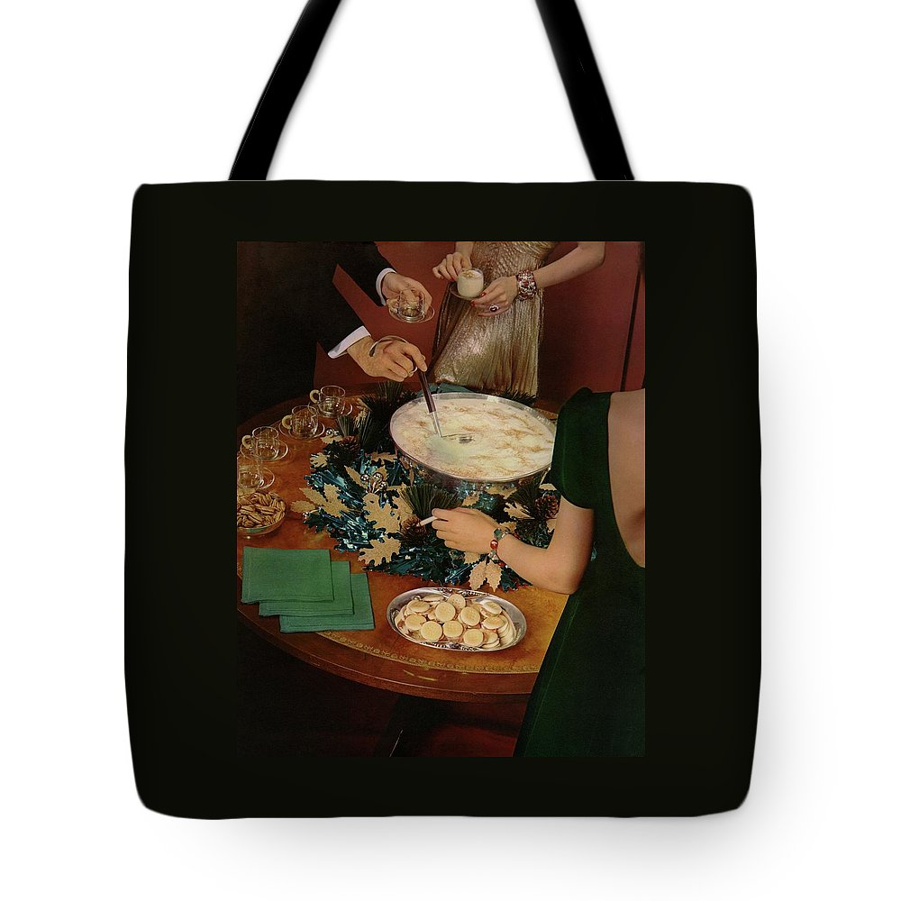 Interior Tote Bag featuring the photograph A Bowl Of Eggnog by Anton Bruehl