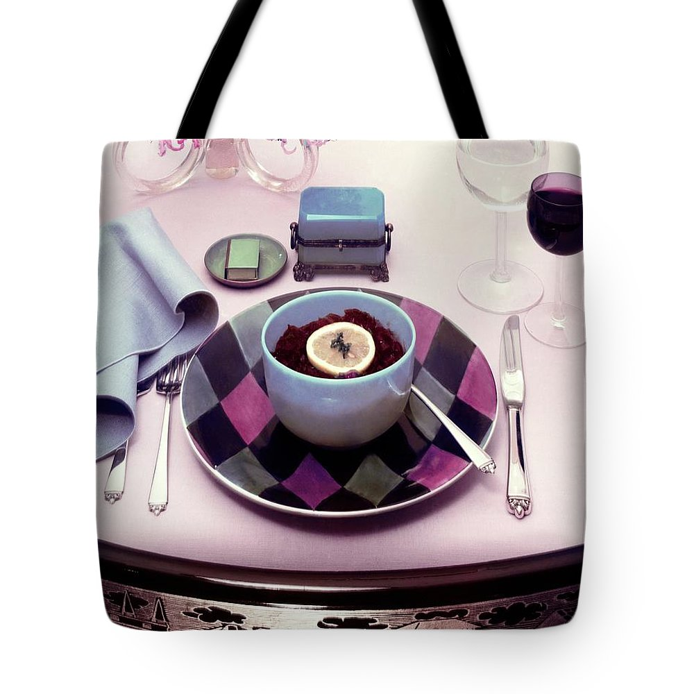 Studio Shot Tote Bag featuring the photograph A Bowl Of Food On A Pink Table by Haanel Cassidy