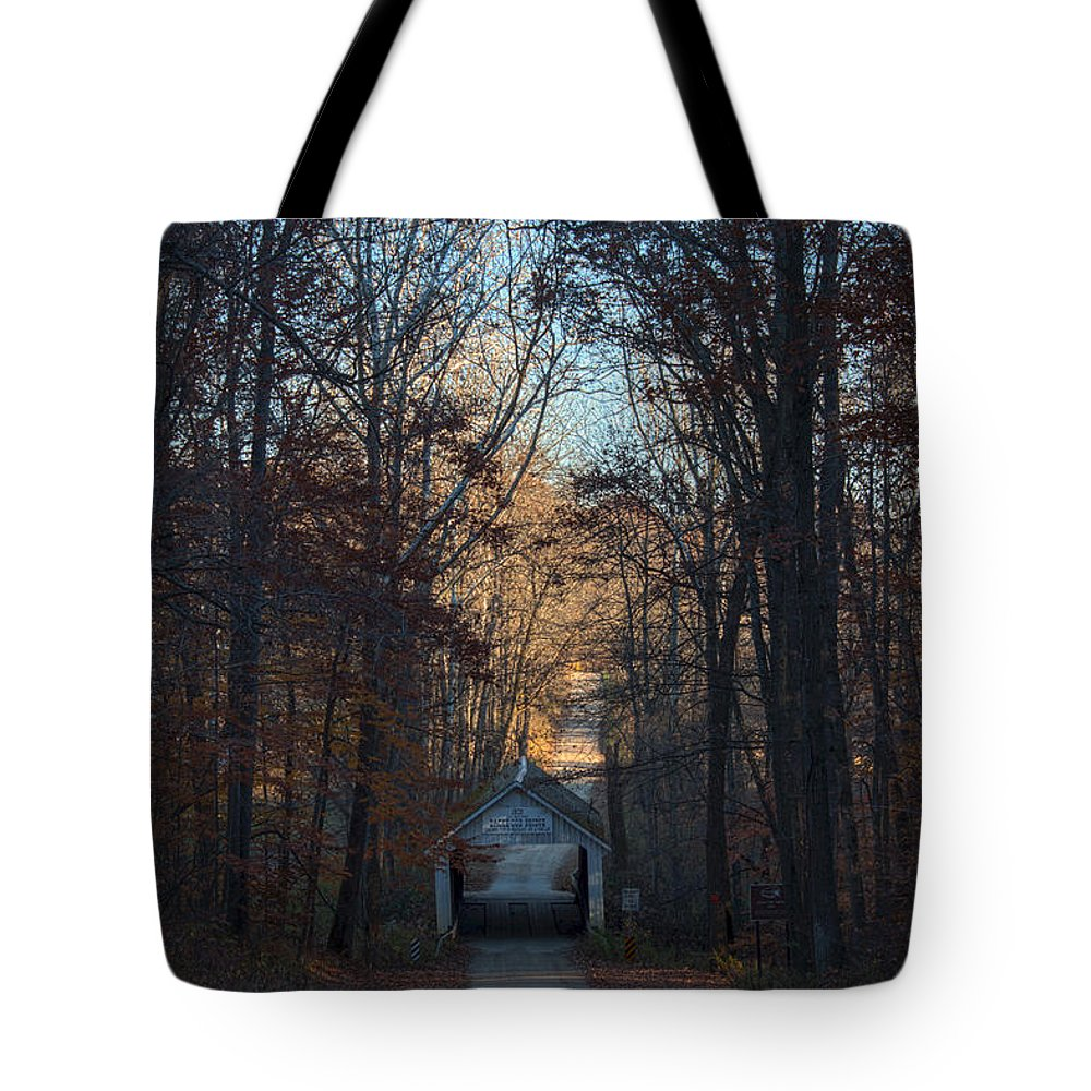 Parke County Indiana Photographs Tote Bag featuring the photograph A Bridge Tucked Away by Thomas Sellberg