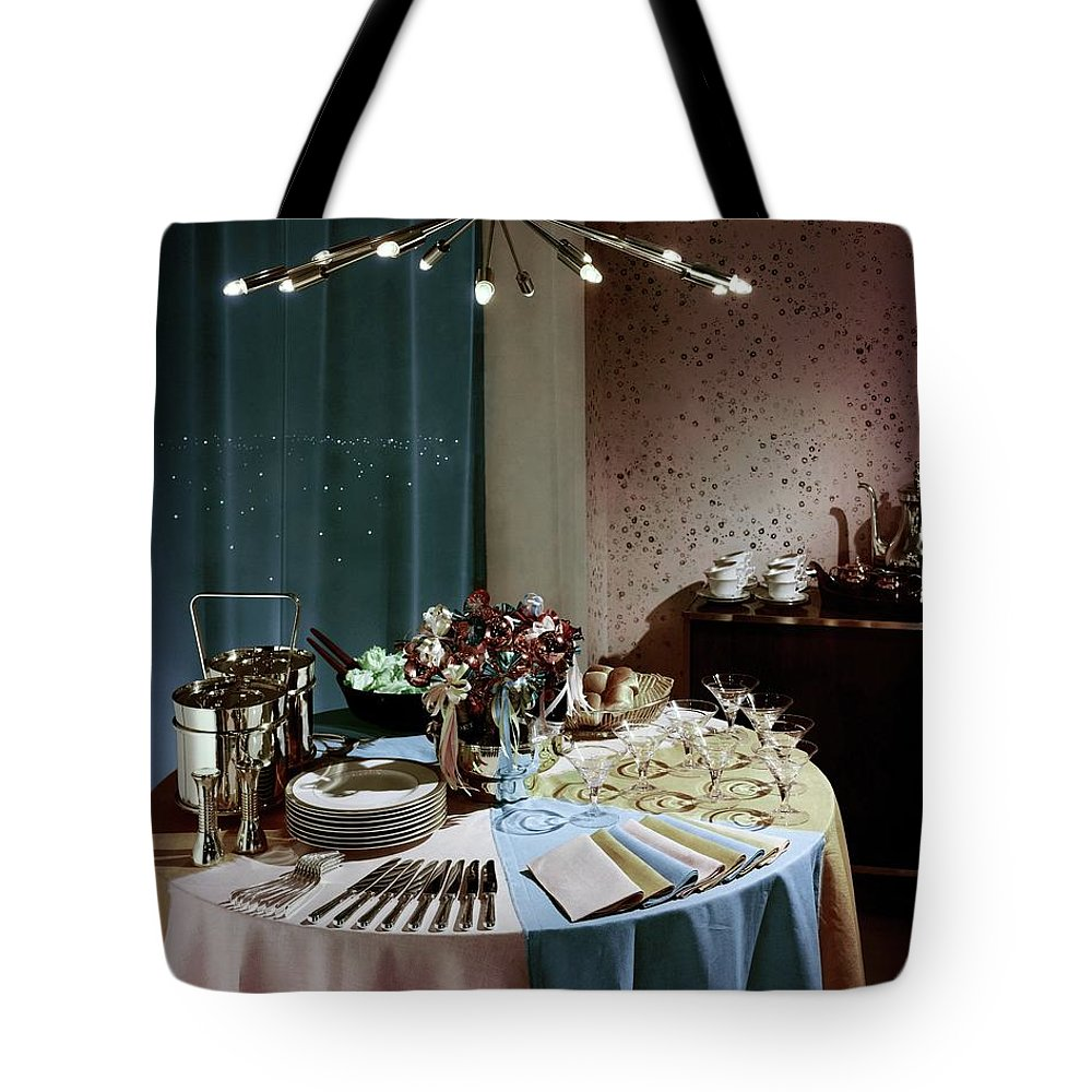 Party Tote Bag featuring the photograph A Buffet Table At A Party by Wiliam Grigsby