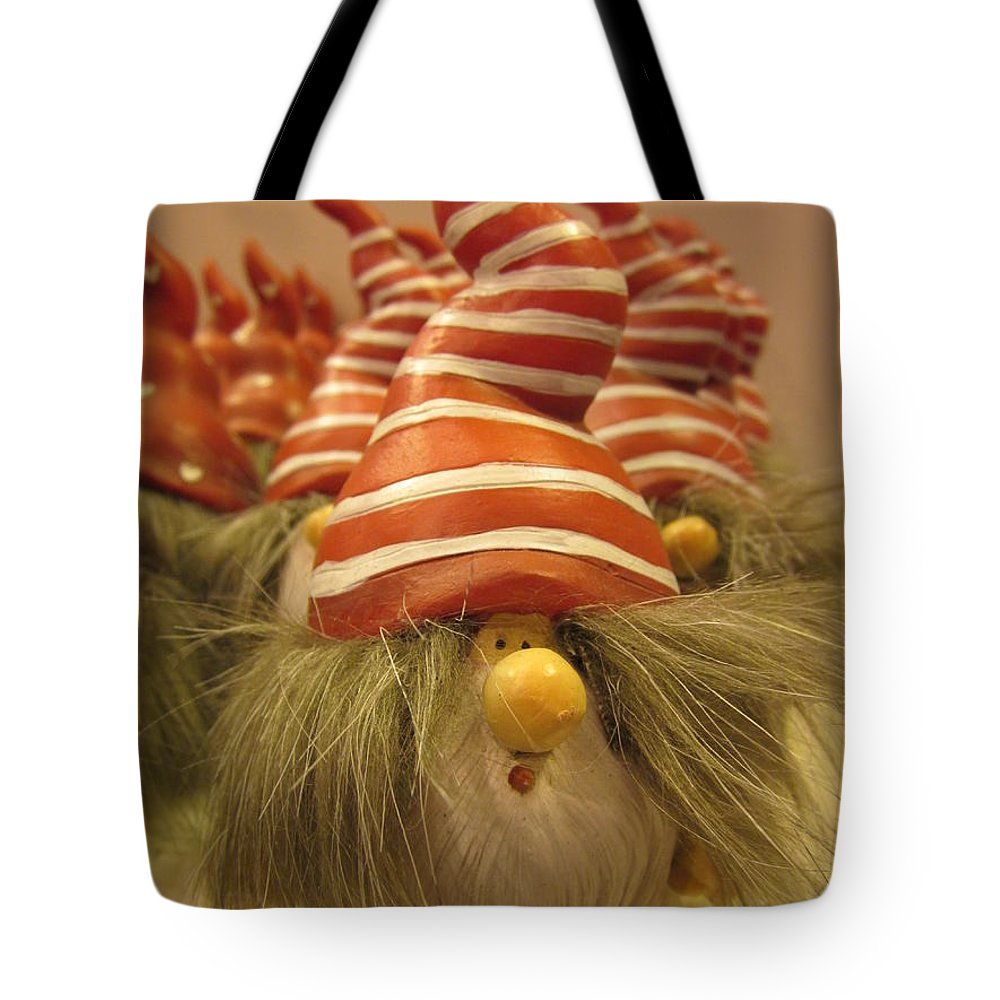 Santa Claus Tote Bag featuring the photograph A Bunch Of Santas by Rosita Larsson