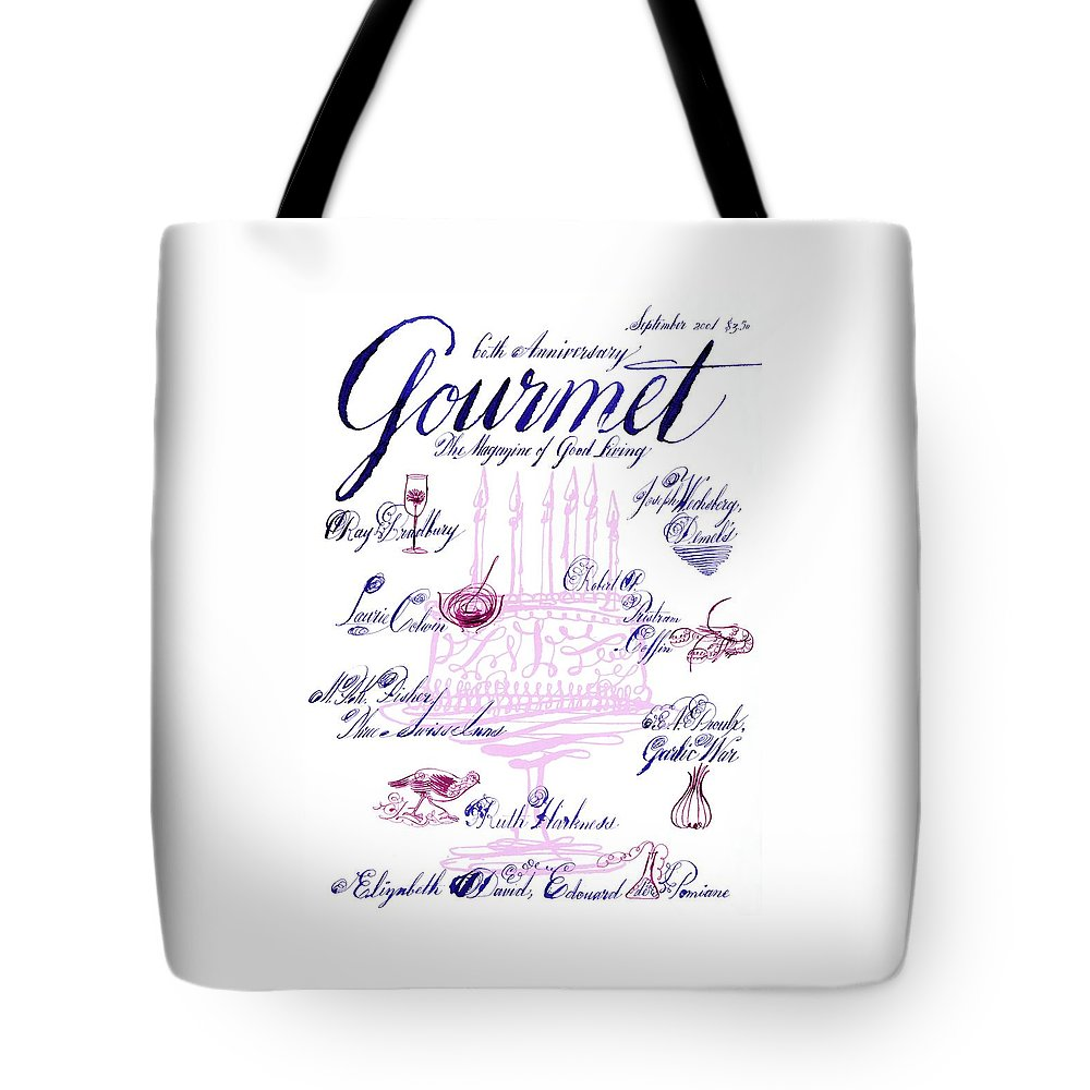 Illustration Tote Bag featuring the photograph A Calligraphy Illustration Celebrating Sixty by Elvis Swift