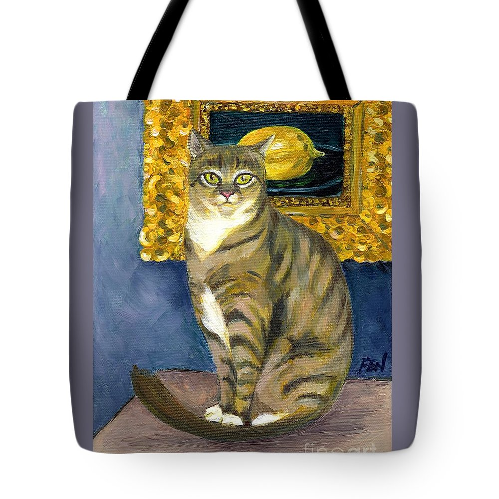 Eduard Manet Tote Bag featuring the painting A Cat And Eduard Manet's The Lemon by Jingfen Hwu