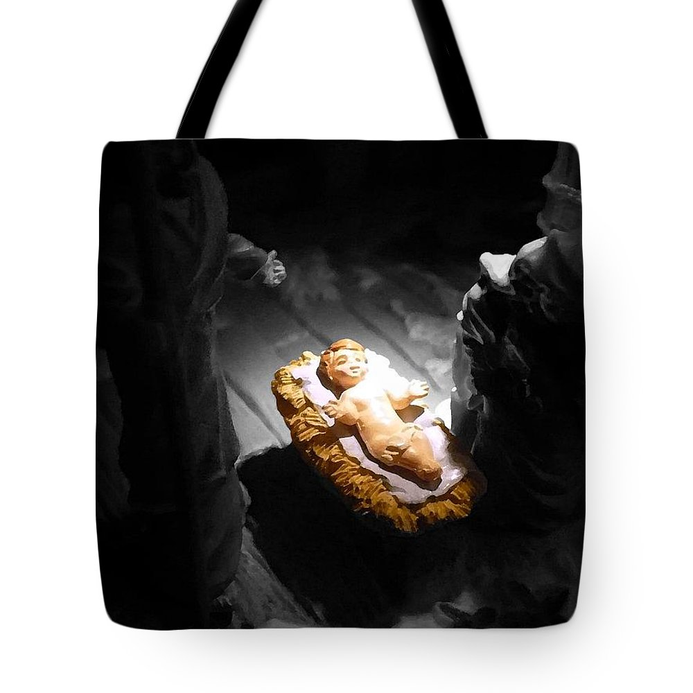 Jesus Tote Bag featuring the photograph A Child Is Born by Nicki Bennett
