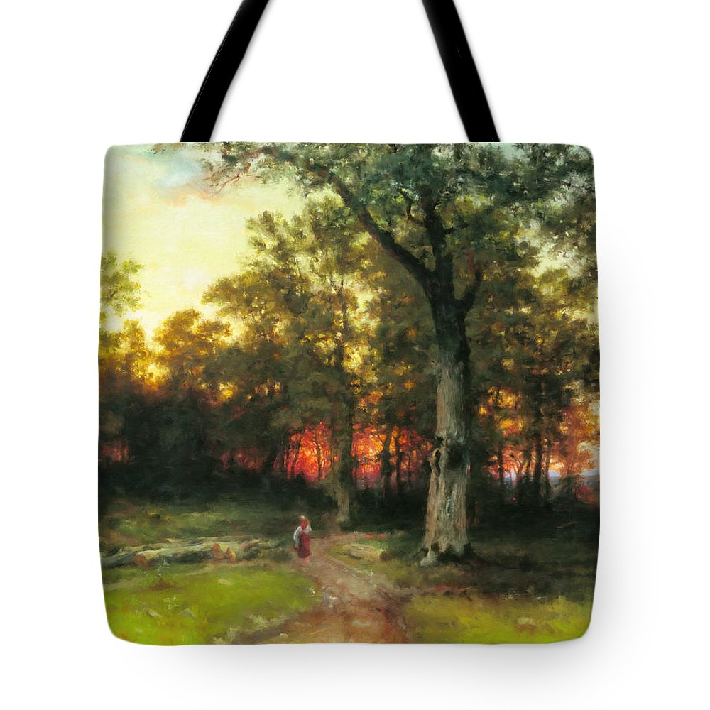 Impressionism Tote Bag featuring the painting A Child Walks In A Forest by Georgiana Romanovna