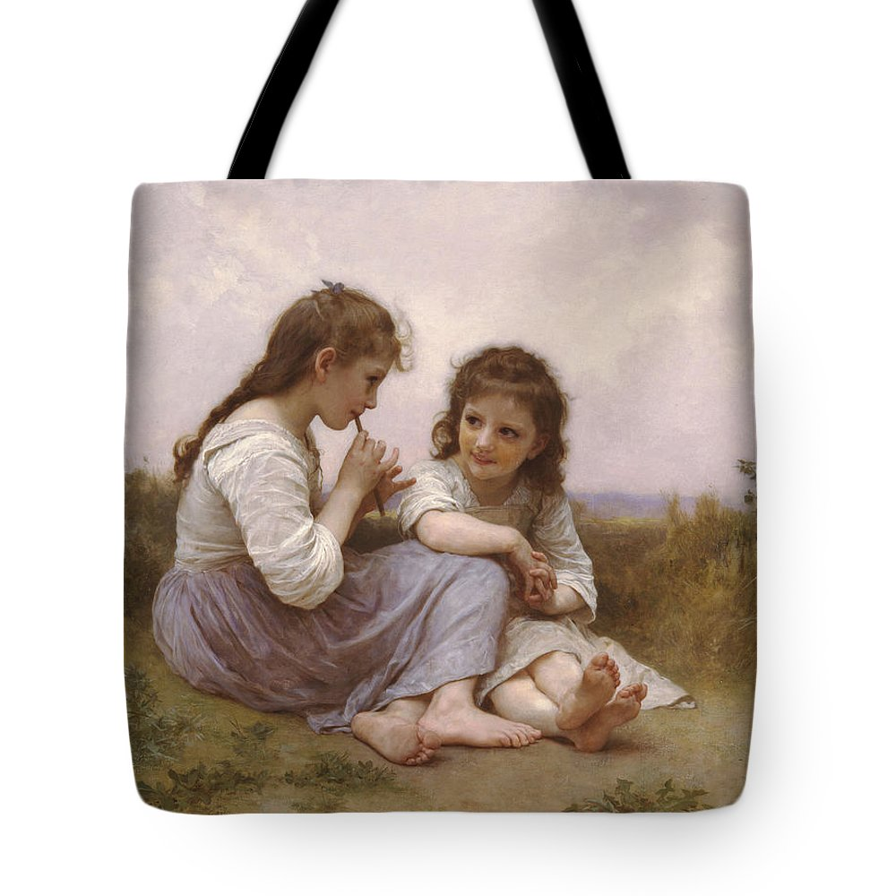 William-adolphe Bouguereau Tote Bag featuring the painting A Childhood Idyll by William-Adolphe Bouguereau