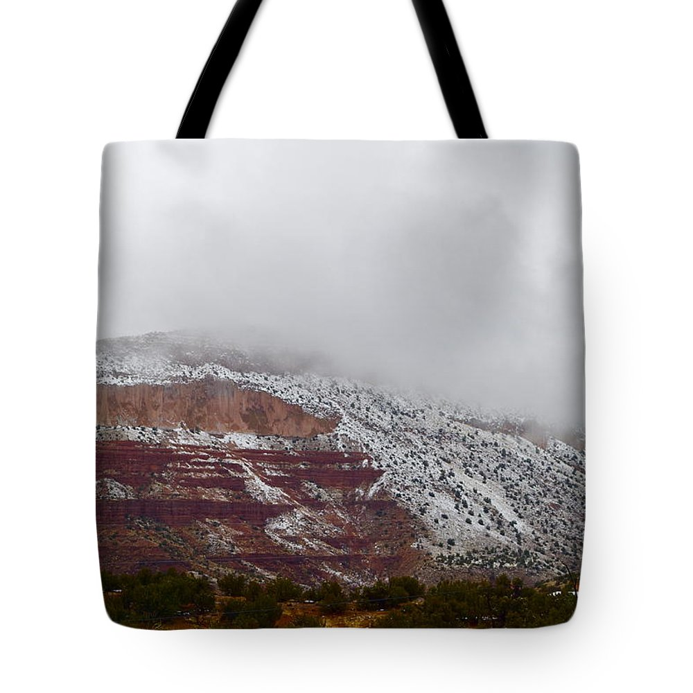 New Mexico Tote Bag featuring the photograph A Cold Afternoon by Wendy Girard