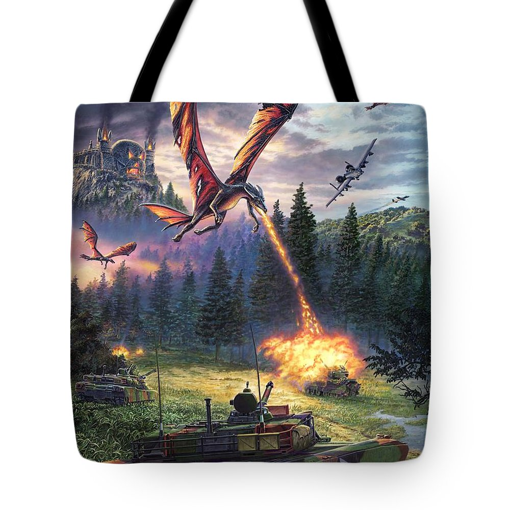 Dragon Tote Bag featuring the painting A Clash Of Worlds by Stu Shepherd